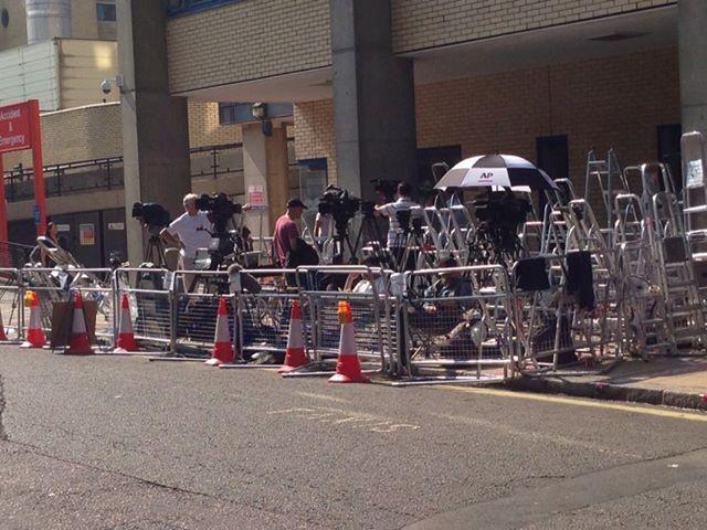 Paparazzi outside Lindo hospital in London on July 5, 2013