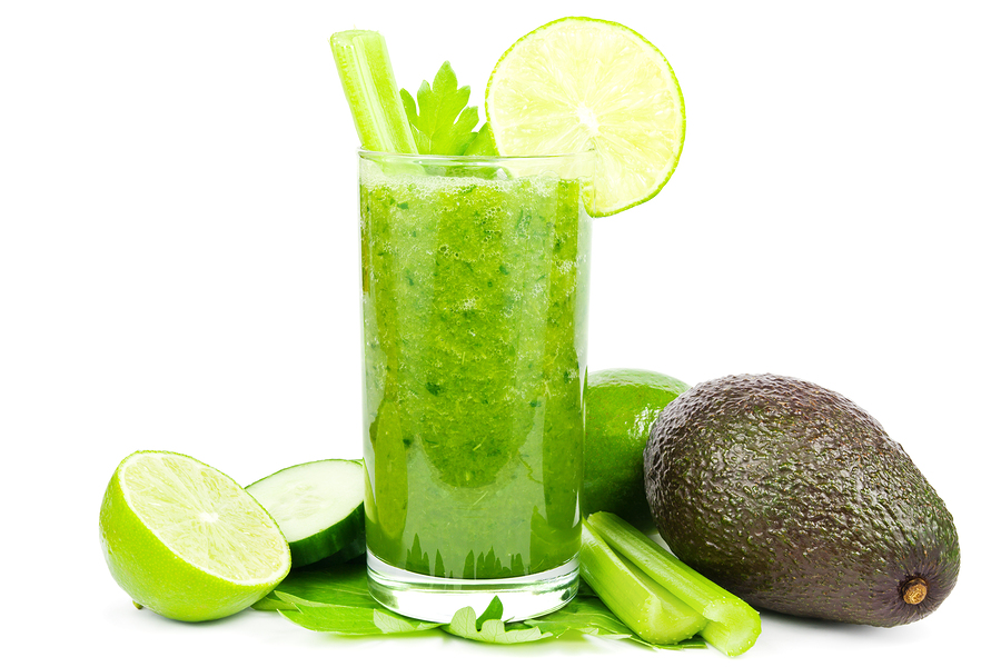 Healthy green vegetable smoothie with cucumber, celery, avocado