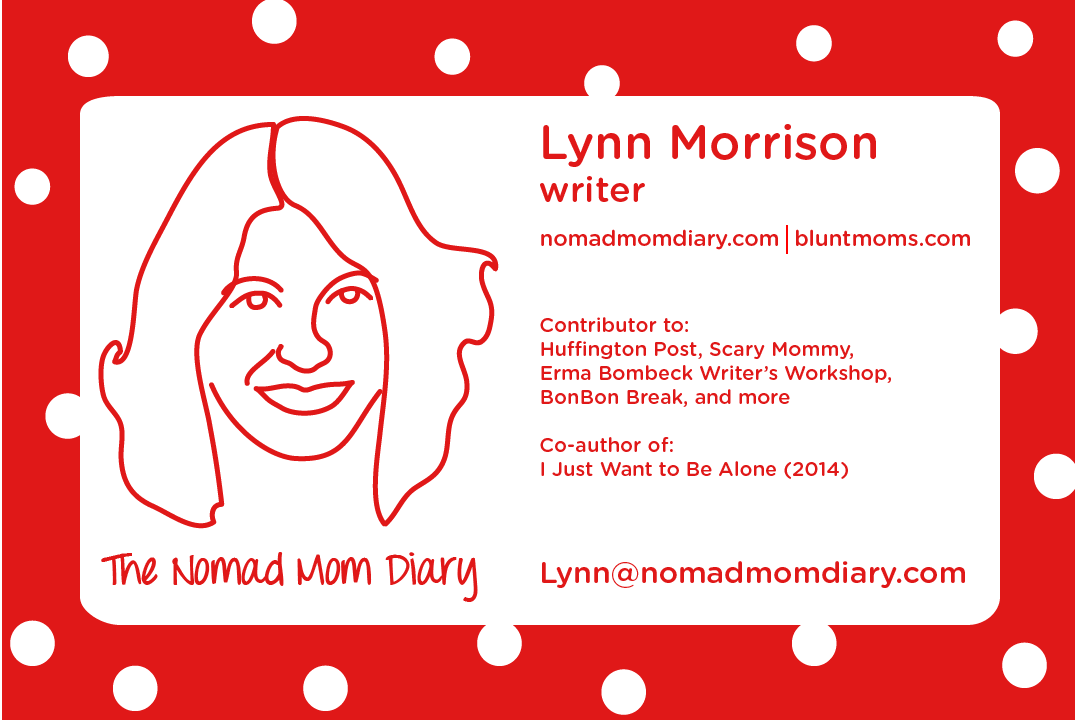 Nomad Mom Diary business card for BlogU14