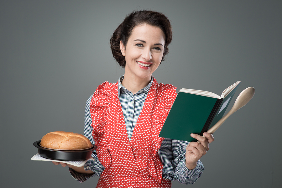 Retro Housewife With Cookbook